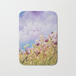 Look to the light, skyscape, landscape, flowers, wild flowers, clouds Bath Mat