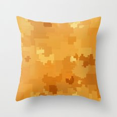 Butterscotch Square Pixel Color Accent Throw Pillow