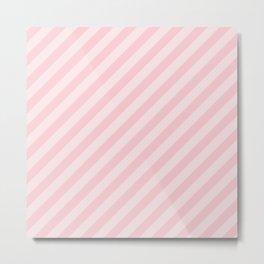 Light Millennial Pink Pastel Candy Cane Stripes Metal Print