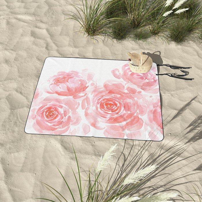 Dreamy pink watercolor peonies Picnic Blanket