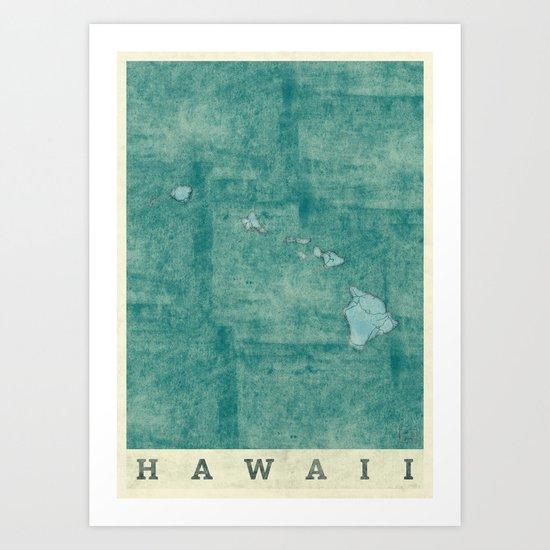 Hawaii State Map Blue Vintage Art Print