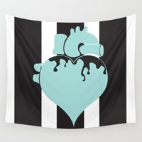 pastel goth Wall Tapestries featuring Pastel Goth Heart by Minette Wasserman