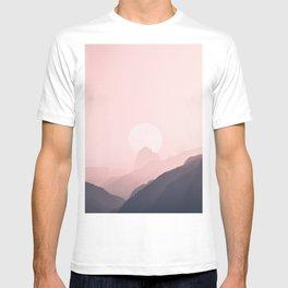 Gray Pink Gradient Mountain Range T-shirt