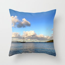 Watercolor Landscape Francis Bay, St. John Throw Pillow