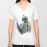boba V-neck T-shirts featuring Boba Fett by lunaevayg