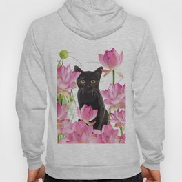 Black Cat Lotos Flower Gras Hoody