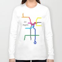 los angeles Long Sleeve T-shirts featuring Los Angeles by Abstract Graph Designs