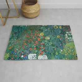 "Gustav Klimt ""Farm Garden with Sunflowers"" Rug"