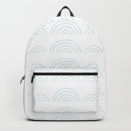 Blue Clouds on White Backpack