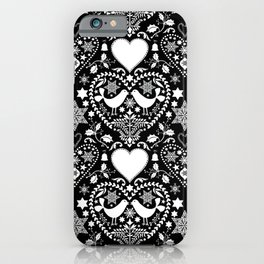 Black And White Hygge Scandi Christmas Folk Art Design iPhone Case