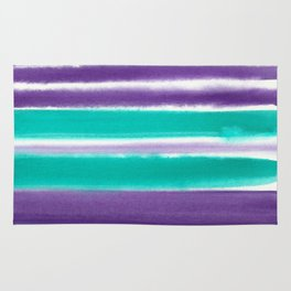 Teal and Purple Watercolor Stripes Rug