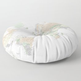 "World map with cities, ""Anouk"" Floor Pillow"
