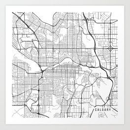 Calgary Map, Canada - Black and White Art Print