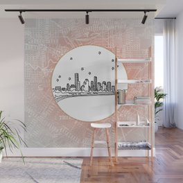 Houston, Texas City Skyline Illustration Drawing Wall Mural
