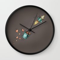 rocket Wall Clocks featuring Rocket by Catru