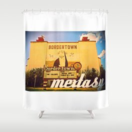MEXTASY : THE BORDERTOWN DRIVE-IN, LAREDO, TEXAS Shower Curtain