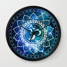 Om Mandala : Blue Green Galaxy Wall Clock