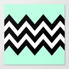 DOUBLE COLORBLOCK CHEVRON {MINT/BLACK} Canvas Print