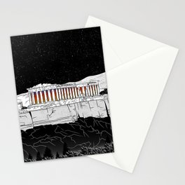 Parthenon black and white Stationery Cards