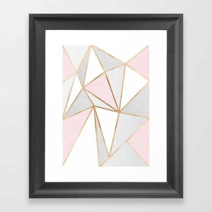 Pink, Grey & Gold Geo Gerahmter Kunstdruck