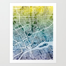 Detroit Michigan City Map Art Print