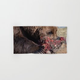 Hungry Alaskan Grizzly Bear - Eating Raw Meat Hand & Bath Towel