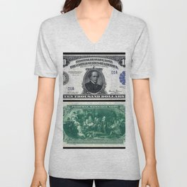 1918 $10,000 U.S. Federal Reserve Chase Bank Note Unisex V-Neck