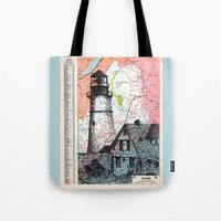 maine Tote Bags featuring Maine by Ursula Rodgers