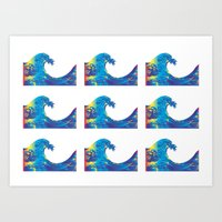 hokusai Art Prints featuring Hokusai Rainbow_Bs by FACTORIE