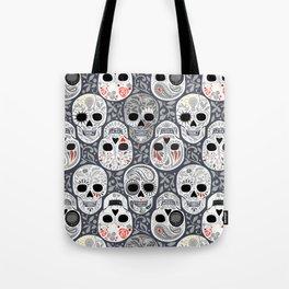 Celebracion de Gris_Sugar Skulls_Calaveras_Repeat_RobinPickens Tote Bag