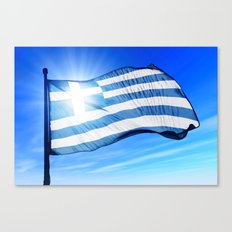 Greece flag waving on the wind Canvas Print