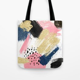 Modern pink gold navy geometric abstract brushstrokes pattern Tote Bag