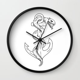 Rattlesnake Coiling on Anchor Drawing Wall Clock