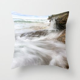 Elliot Falls on Miners Beach - Pictured Rocks, Michigan Throw Pillow