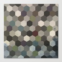 hexagon Canvas Prints featuring Hexagon  by Kitty Emsley