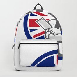 British Butcher Front Union Jack Flag Icon Backpack