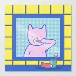 Fox Brushes His Teeth Canvas Print