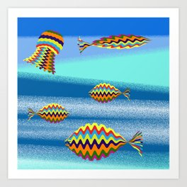 under the sea there's a colorful world Art Print