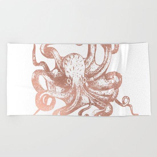 Rose Gold Octopus Beach Towel