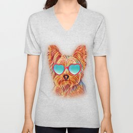 Yorkshire Terrier Colorful Yorkie Neon Dog Sunglasses Unisex V-Neck