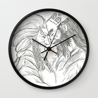 nori Wall Clocks featuring Headbutt by BlueSparkle
