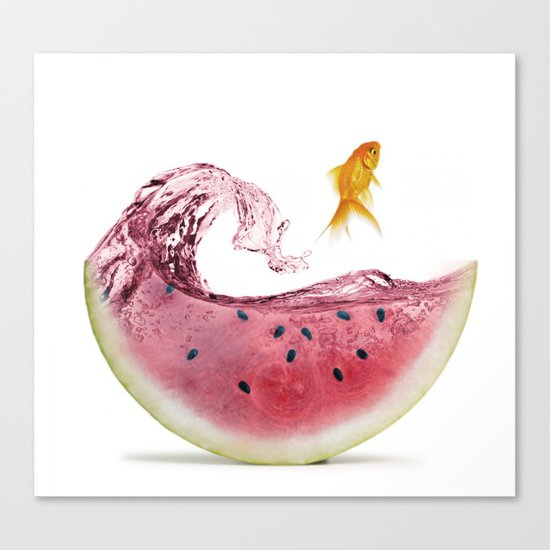 watermelon goldfish Canvas Print
