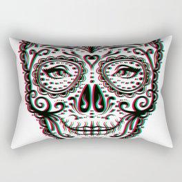Sugar Skull (Calavera) Chromatic Aberration - Cyan Magenta Yellow Rectangular Pillow