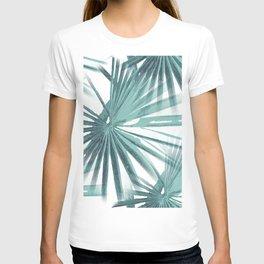 Teal Aqua Tropical Beach Palm Fan Vector T-shirt
