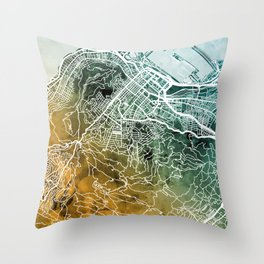 Cape Town South Africa City Street Map Throw Pillow