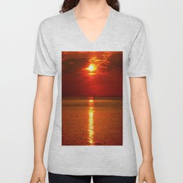 Sunset at Lake Constance Unisex V-Neck