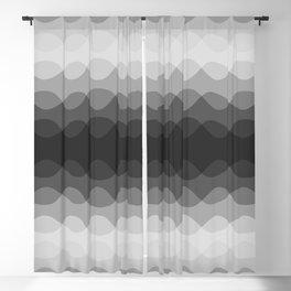 Overlapping Wavy Horizontal Lines Light Gray Mid-tone Gray & Dark Gray Pattern Blackout Curtain