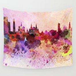 Moscow skyline in watercolor background Wall Tapestry