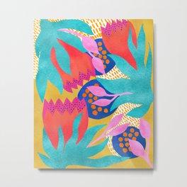 Bold Flower Pattern Yellow Background Metal Print