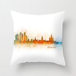 Moscow City Skyline art HQ v3 Throw Pillow